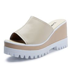 4e98dee1e4c slope slippers women wearing the Korean version of summer SandalsThicksoled  leather fashion high heel Sandals Women outdoor slippersB Foot    Continue  to ...