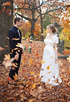 A spooky Autumn Background is the perfect setting for your Eco Haunted Wedding!  Bring a leaf blower...