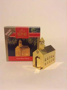 1991 Hallmark Keepsake Festive Brass Church Magic Light Christmas Ornament