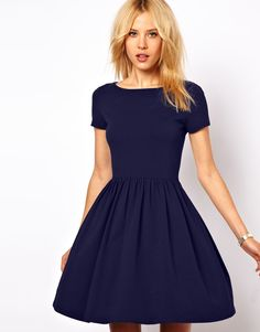 Skater Dress With Slash Neck And Short sleeves