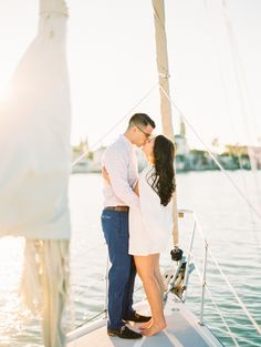 Engagement Shoot on a Sailboat! See More on SMP: http://www.StyleMePretty.com/2016/05/30/set-sail-for-an-engagement-session-on-the-sea/ Best Photography