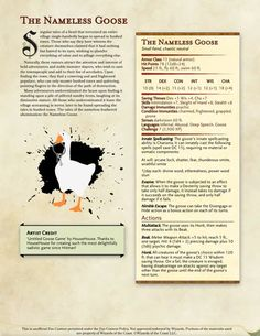 dungeons and dragons Homebrewing Dungeons and Dragons stats for the Goose from Untitled Goose Game / Boing Boing Dungeons And Dragons Homebrew, Dungeons And Dragons Characters, D&d Dungeons And Dragons, Dnd Characters, Dnd Dragons, Fantasy Characters, Dnd Character Sheet, Character Ideas, Game Character