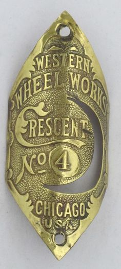 Crescent No 4Bicycle Head Badge bike Name Plate antique original old vintage in Bicycle Parts | eBay