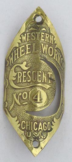 Crescent No 4Bicycle Head Badge bike Name Plate antique original old vintage in Bicycle Parts | eBay