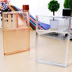 Notebook Style Plastic Water Bottle Milk Juice Tea Cups My Water Bottle Creative Sport Kettle Can be a Flagon 420ml SH75