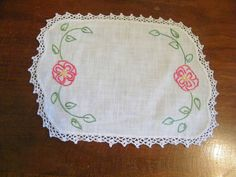 Collectible Embroidered Dresser Scarf Doily 7 x 9 Inch Crocheted Trim CUTE