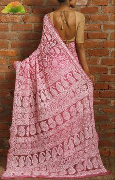 #Pink Chiffon #Saree with Chikankari by Indofash at Indianroots.com #India #Shop