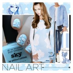 """Sky Pastel Nails"" by yours-styling-best-friend ❤ liked on Polyvore featuring beauty, York Wallcoverings, Wildfox and Louis Vuitton"