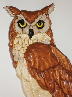Large Wooden Owl Intarsia by KentsKrafts on Etsy