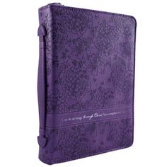This glorious purple Bible cover features a debossed floral design and verse from Philippians 4:13. Purple Floral Bible / Book Cover - Philippians 4:13  Price : $19.99 http://www.veritasgifts.com/Purple-Floral-Bible-Book-Cover/dp/B00CUIBF0O