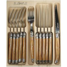 Olive Wood Color 12 Piece Knife and Fork Set Laguiole Verdier Boxed