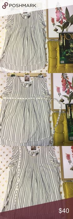 Micheal stars black striped Blouse Size Xs White and black tank top short sleeve style Blouse  Slit in sides  Super soft and flattering  Anthropologie brand  NWT $118 Anthropologie Tops Blouses