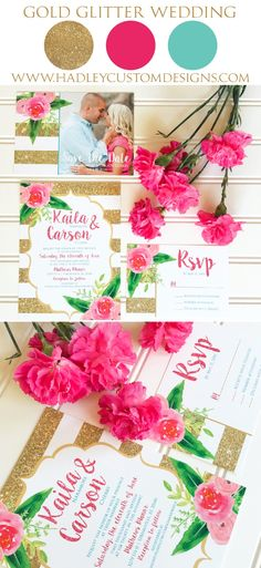 Gold Wedding Invitation but not with the teal and pink