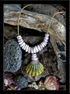 "Chunky Purple Puka Shells & Green Sunrise ""Moonrise"" Shell Cord Necklace"