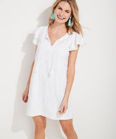 Shop Embroidered Palm Vineyard Tunic Dress at vineyard vines Vineyard Vines Stores, White Tunic Dress, Costa Sunglasses, Casual Dresses, Summer Dresses, Double Ruffle, White Caps, Bright Pink, Cover Up