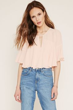 Forever 21 Contemporary - A woven crepe top featuring 3/4 bell sleeves, a round neckline with a V-cutout accent, and a buttoned keyhole back.