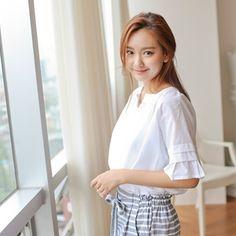 Korea womens shopping mall [styleberry] #koreafashionshop #Fashionwomen  #korea #dailylook #dailyfashion #T-shirts #dress #tops #blouse #cardigan #outwear #skirt #pants #basicitem #shoes #bag #jewelry #acc #koreafashion #clothes #like #want  #blouse #女衬衫 #ブラウス #lovely  Sleeve Shirring Cotton Blouse / Size : FREE / Price : 19.99 USD