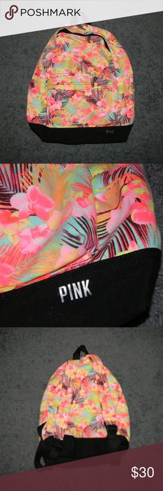 "Victoria's Secret PINK Hawaiian Print Backpack Very good condition, 11.5"" wide, 16.5"" tall, used 5-7 times -Sorry NO SWAPS and NO HOLDS -Ships from California -Comes from smoke free, dog friendly homes -I can't model at this time, the mannequin measurements are 32.5"" bust, 24"" waist, 34"" hips, and is 5'10"" and a size S/M -Items are measured by hand and done laying flat PINK Victoria's Secret Bags Backpacks"