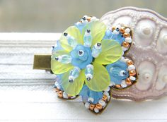 """Big hairpin """"Magic flowers"""" OOAK Tender colours, romantic look! Green, blue, white, light blue, gold, gray beads. A unique gift for her!"""