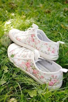 Pink flowered sneakers