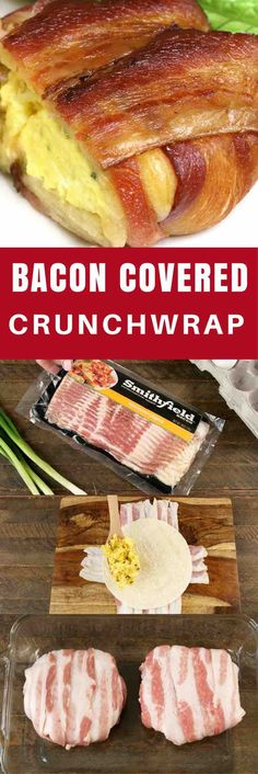 Bacon Covered Crunchwraps – A quick and easy meal with loaded scrambled egg crunchwraps and wrapped with bacon. Only a few ingredients needed for this delicious recipe: Smithfield bacon, eggs, cheddar cheese, flour tortilla, green onions, salt and pepper. This recipe makes a great breakfast, brunch, lunch, or a snack! SmithfieldBrunch AD.