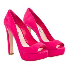 Pink Suede Peep Toe by Miu Miu
