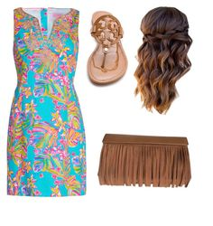 A fashion look from August 2016 featuring Lilly Pulitzer, rubber sole shoes and brown handbags. Browse and shop related looks. Lilly Pulitzer, Preppy, Tory Burch, Kate Spade, Boho, Formal Dresses, Polyvore, Stuff To Buy, Shopping