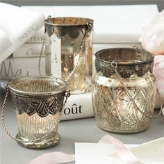 Chambord Mercury Glass Tealight Candleholder Set of 3. As Seen In @Brides November 2012 #laylagrayce #press