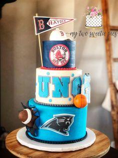 Boston Red Sox , UNC, Carolina Panthers birthday cake