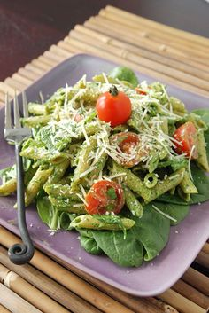 Spinach pesto penne with goat cheese