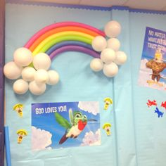 Sky VBS 2012- pool noodle rainbow (with balloons as clouds?)