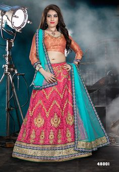 DARK PINK AND TURQUOISE A-LINE STYLE LEHENGA CHOLI-48001