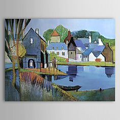 Hand-painted Landscape Oil Painting with Stretched Frame – USD $ 72.99