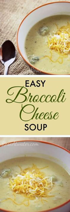 This Easy Broccoli Cheese Soup is a semi-homemade recipe made with the most basic of ingredients and is a hearty, delicious meal that you can enjoy on those cold winter nights! #soup #broccolicheesesoup