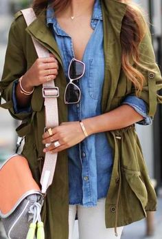 Anorak jacket are very trendy right now. These jackets are perfect to put over any outfit. ~ I love this combination with the army green and the jean button-up!