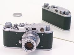 Zorki I (green) / Zorki I, Russian leica copy rangefinder camera shutter B,20-500 speed with Industar-22 f3.5/50mm lens, Made by Krasnogorsk USSR c1949-56