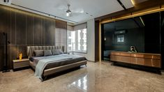 A Deluxe Lodging - Apartment Interiors Bedroom Bed Design, Modern Bedroom Design, Home Room Design, Home Interior Design, Bedroom Decor, House Design, Bedroom Designs, Bedroom Ideas, Modern Bedrooms