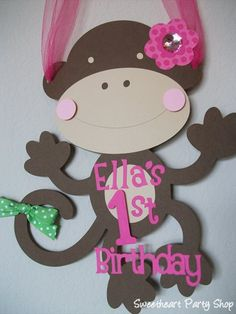 Monkey Girl Birthday Party Door Sign Pink by sweetheartpartyshop, $10.00