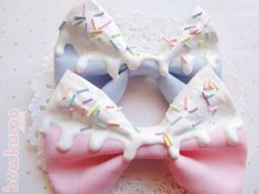 Hair accessory: baby blue, pastel pink, candy, icing, sprinkles, ice cream, hair bow, melting, dripping, frosting, bows accesories hair blue, dripping icecream - Wheretoget