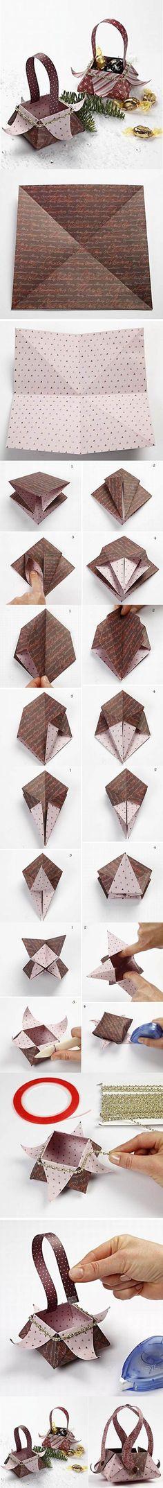 DIY Beautiful Origami Gift Basket   iCreativeIdeas.com Follow Us on Facebook --> https://www.facebook.com/icreativeideas