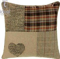 Supplied by Maple Textiles Patchwork Heart Cushion Covers, Wool Blend Cushions, Embroidered Tartan Check, Pillow Covers, x x (Natural) Brown and Orange Patchwork Heart, Patchwork Cushion, Patchwork Baby, Quilted Pillow, Natural Cushion Covers, Natural Cushions, Handmade Cushion Covers, Cushion Cover Designs, Bedding