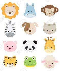 Ilustración vectorial de caras de animales incluyendo el león, hipopótamo, mono, cebra, perro, gato, cerdo, panda, jirafa, tigre, rana, y las ovejas