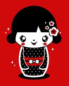 Kiki Kokeshi Art Print