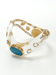 Clear Resin & Turquoise Wave Bangle