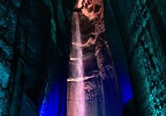 A minute walk 1120 feet underground will take you to A weird mix of an incredible geological find and a Disney-esque light show, This spot is for sure a tourist attraction (expect crowds) but worth the hype. Outdoor Travel, Geology, The Great Outdoors, Waterfall, Around The Worlds, Bucket, The Incredibles, Explore, Travel
