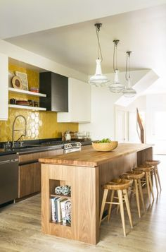 Design Trends: Tile and Wood Kitchen Cabinetry Kitchen Cabinetry, Kitchen Tiles, Kitchen Decor, Soapstone Kitchen, Kitchen Countertops, Bright Kitchens, Home Kitchens, Bright Kitchen Colors, Yellow Kitchen Inspiration