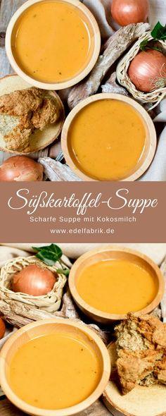 Rezept für eine schnelle, einfache Suppe aus Süßkartoffeln und Kokosmilch