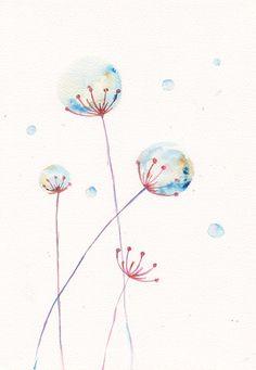 Turchese fucsia inverno fiore arte acquerello stampa mia illustrazione di floreale astratta arredamento originale pittura tarassaco 8 x 11 on Etsy, 14,81 €