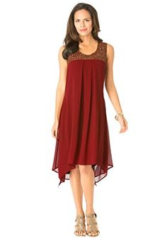 7592b8de8f Womens Plus Size Beaded Hankie Hem Dress Denim Black by fullbeauty