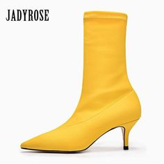 996d3428bed Jady Rose Yellow Women Sock Boots Stretch Fabric Pointed Toe High Heels  Slip On Ankle Boots Women Pumps Stiletto Botas Mujer